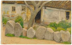 Lyonel FeiningerVillage House with Tree and Boulders