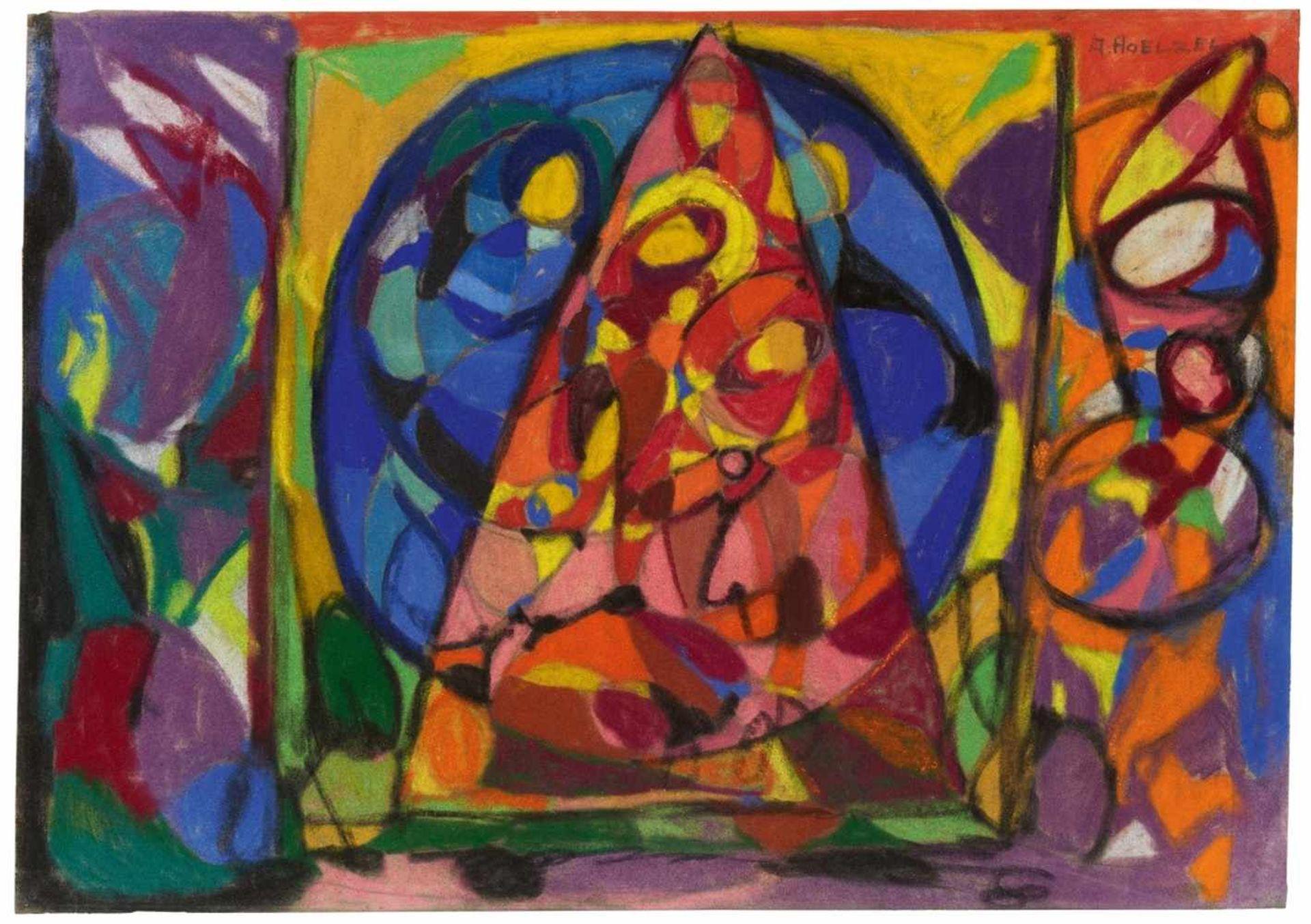 Adolf HölzelKomposition (Glasfensterentwurf) Dreieck und Kreis
