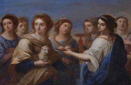 Angelika Kauffmann, in der ArtDie Heiligen Agnes und Agatha umgeben von fünf weiteren weibli