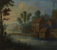 Niederländischer Meister um 1700Flusslandschaft mit Wassermühle und Wäscherinnen