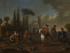 Franz de Paula FergAufbruch zur Jagd in südlicher Landschaft