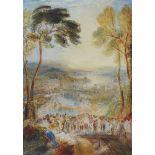 William CallowWeite Landschaft mit feiernden Figuren im Vordergrund