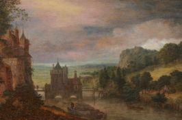 Gillis NeytsLandschaft mit Burg am Ufer eines Flusses