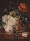 Jan van Huysum, zugeschriebenWeidenkörbchen mit Rosen, Rittersporn und Winde auf einer Tisch