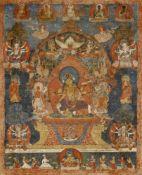 Thangka (Paubha) der Vasudhara. Nepal. 17./18. Jh.