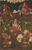 Thangka mit zwei Arhats und Moheyan. Tibet. 18. Jh.