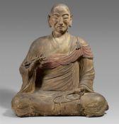 Große Figur eines Kobo Daishi. Holz. Heian-/kamakura-Zeit und später
