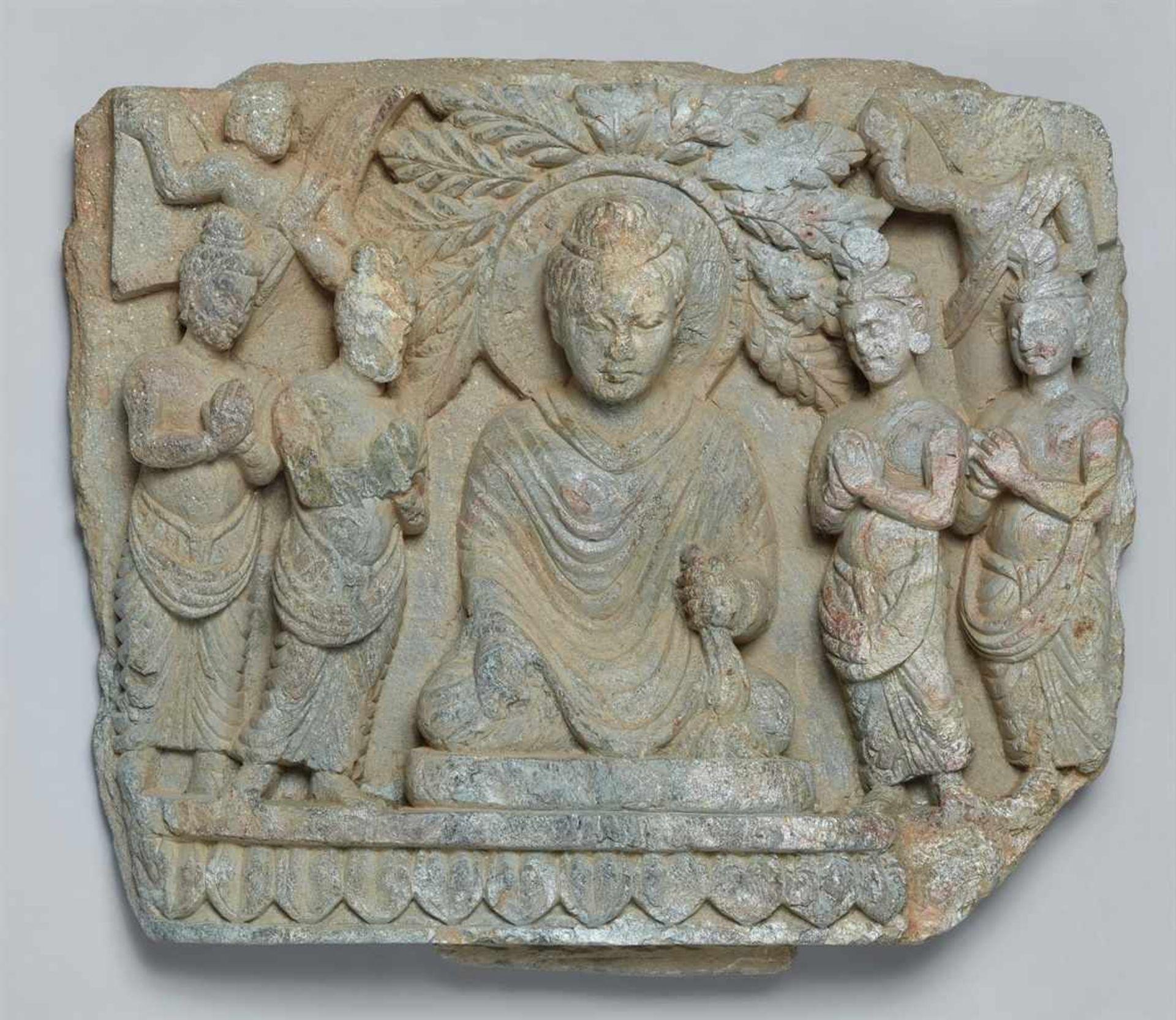 Architekturfragment. Silbriggrauer Schist. Pakistan, Gandhara. Wohl 2./3. Jh.