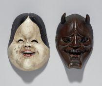 Zwei kyogen-Masken. Holz, Lack und Farben. 18./19. Jh.
