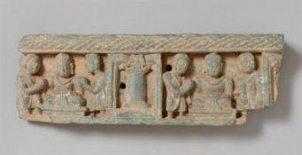 Architekturfragment. Grünlicher Stein. Pakistan, Gandhara. 2./4. Jh.