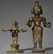 Öllampe und eine Figur. Gelbguss. Ost-Indien, Bengalen/Orissa. 19./20. Jh.