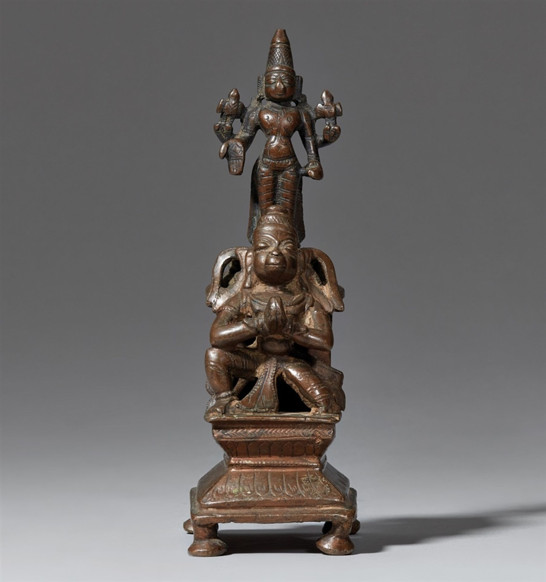 Hanuman und Vishnu. Kupferlegierung. Indien.