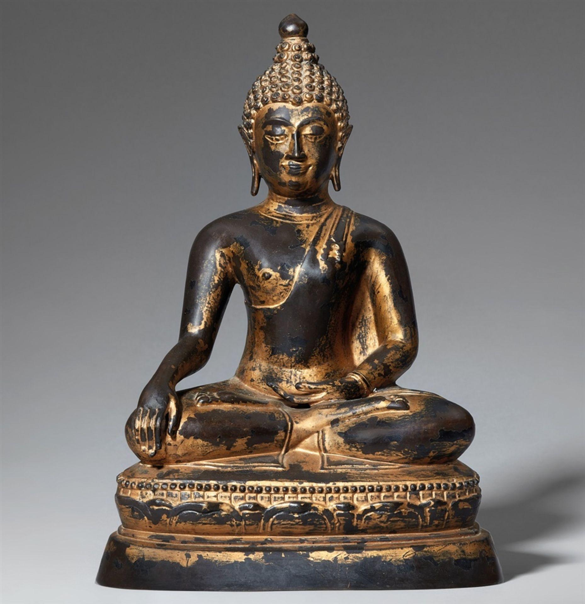 Buddha Maravijaya. Bronze. Thailand. Im Stil von Lan Na. Wohl 19. Jh.