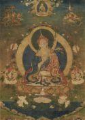 Fein gemaltes Thangka des Padmasambhava. Tibet. 18. Jh.