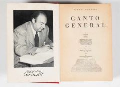 "Neruda, Pablo. ""Canto general"" (General song). 2nd edition. Mexico. Océano, 1952. 597 pages. 18 x 12"