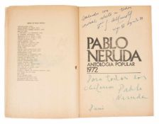 Neruda, Pablo. Antología popular (Popular Anthology): 1972 (selected poems by Pablo Neruda). 1st