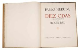 """Diez odas para diez grabados (Ten odes for ten prints)."" Neruda, Pablo and Bru, Roser. 1st edition,"