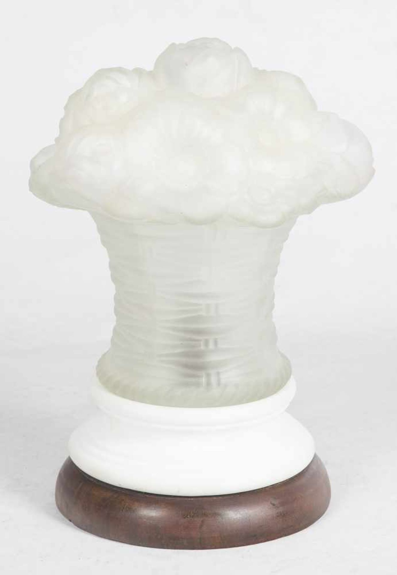 Los 48 - Glass paste and biscuit table lamp with a wooden base.