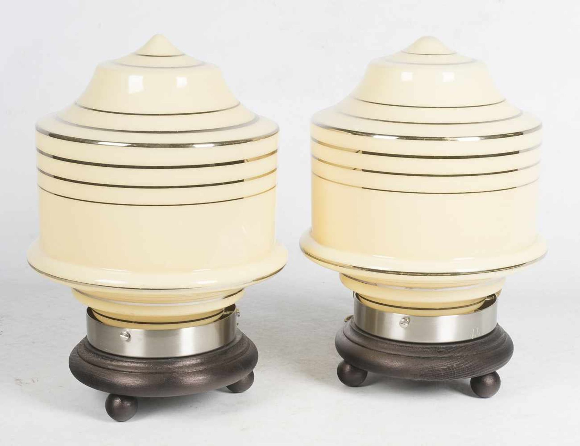 Los 49 - Pair of glass table lamps with a wooden base. Jena-Glas. Germany. Art Deco.