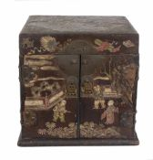 "A ""Bantamwork"" or coromandel lacquer and brass table cabinet. China. Qing dynasty. 18th century."