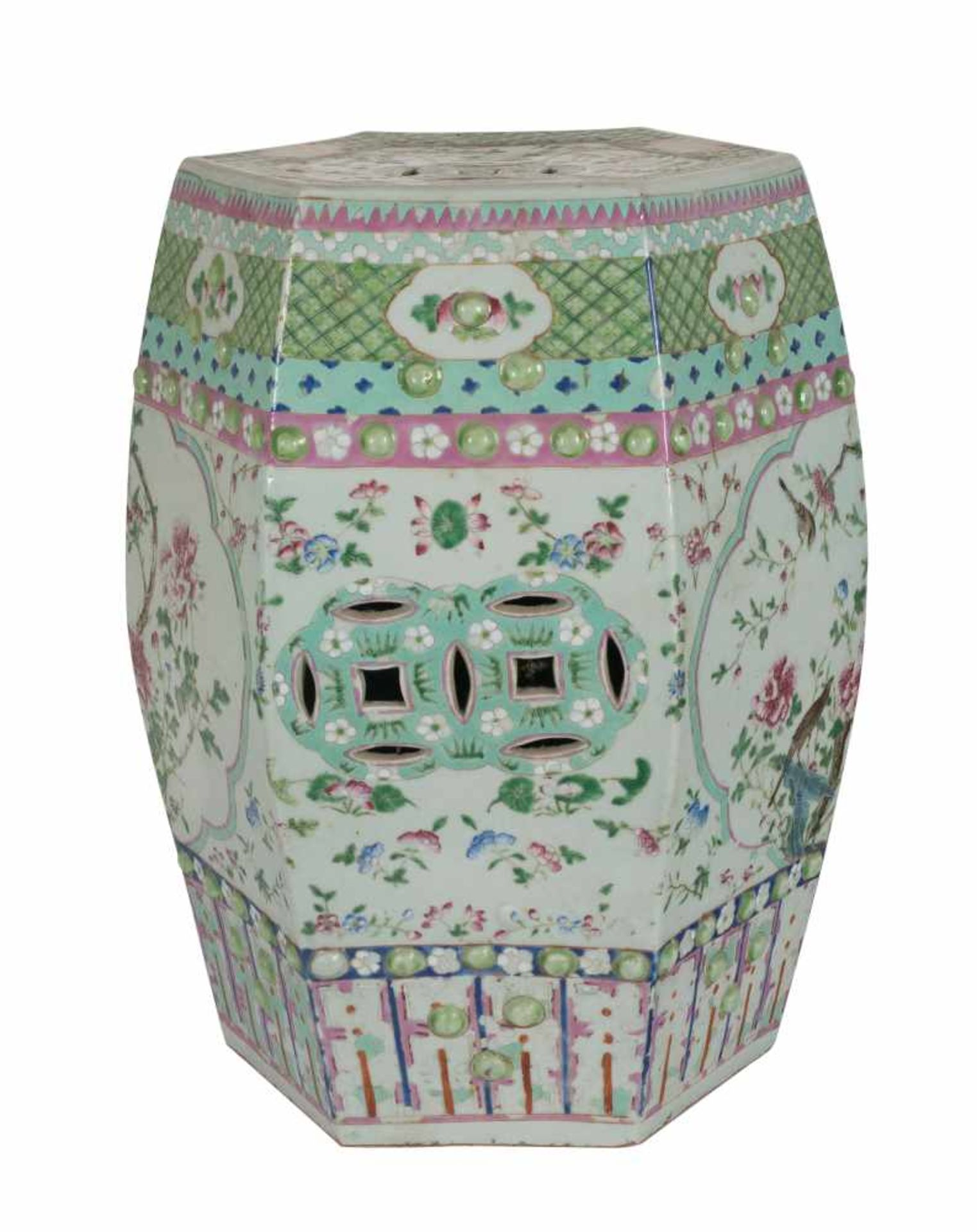Los 5 - Export porcelain octagonal garden seat. China. Rosa family. Qing dynasty. 19th century.46 x 30