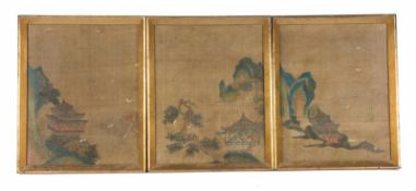"Anonymous. Ink and color on silk. Qing dynasty (1644-1912). ""Retiro en als montañas""Three p"