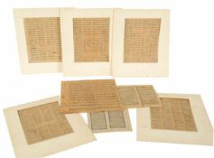 A collection of Qur'an leaves from 19th century and earlier written in Arabic and Persian.Ink o