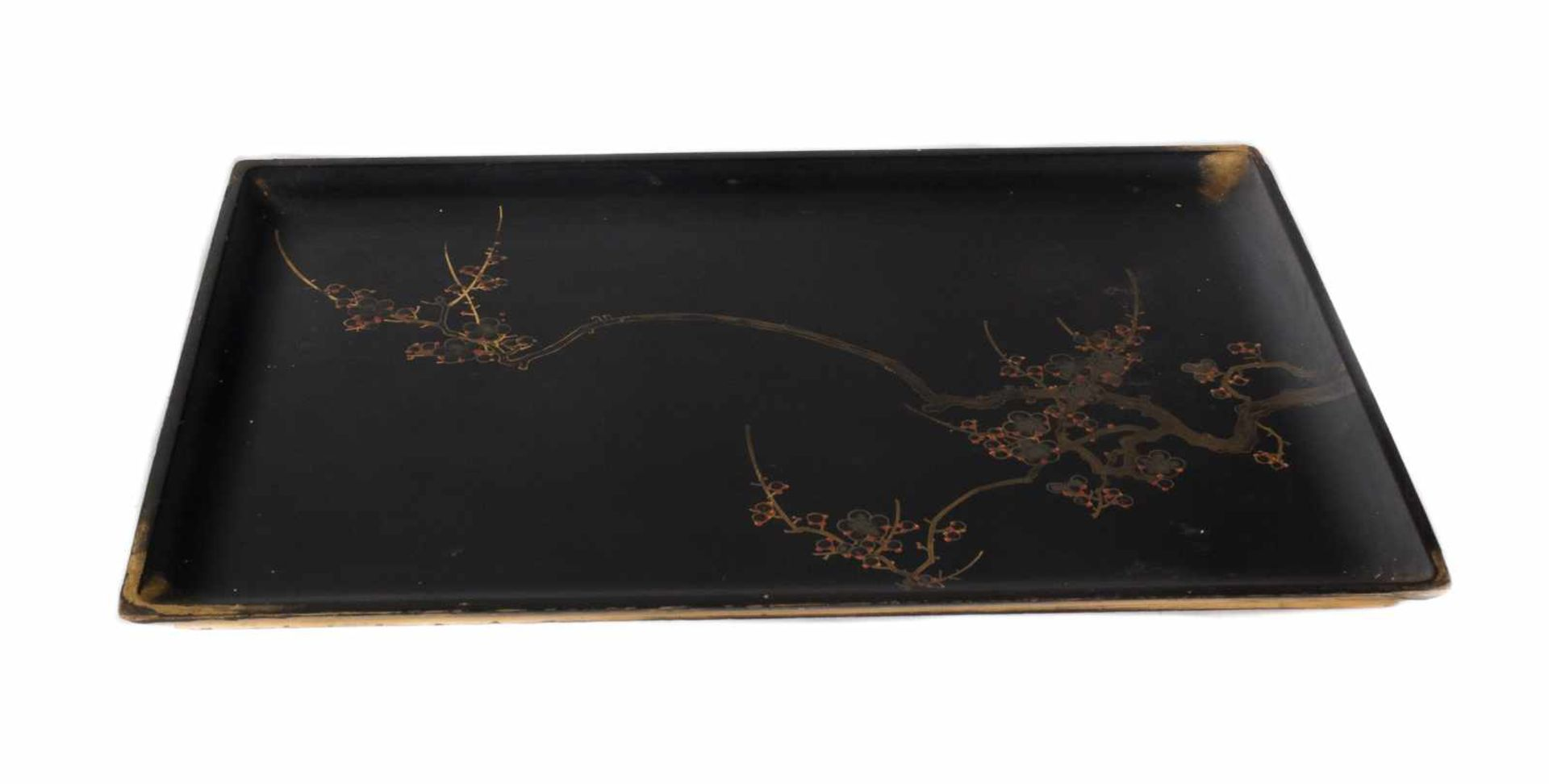 Los 58 - A Japanese gilt and black lacquer rectangular tray, depicting blossoming cherry tree branches. Meiji