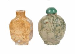 A pair of Chinese snuff bottles in carved pudding stone. China. Qing dynasty. Late 19th century -