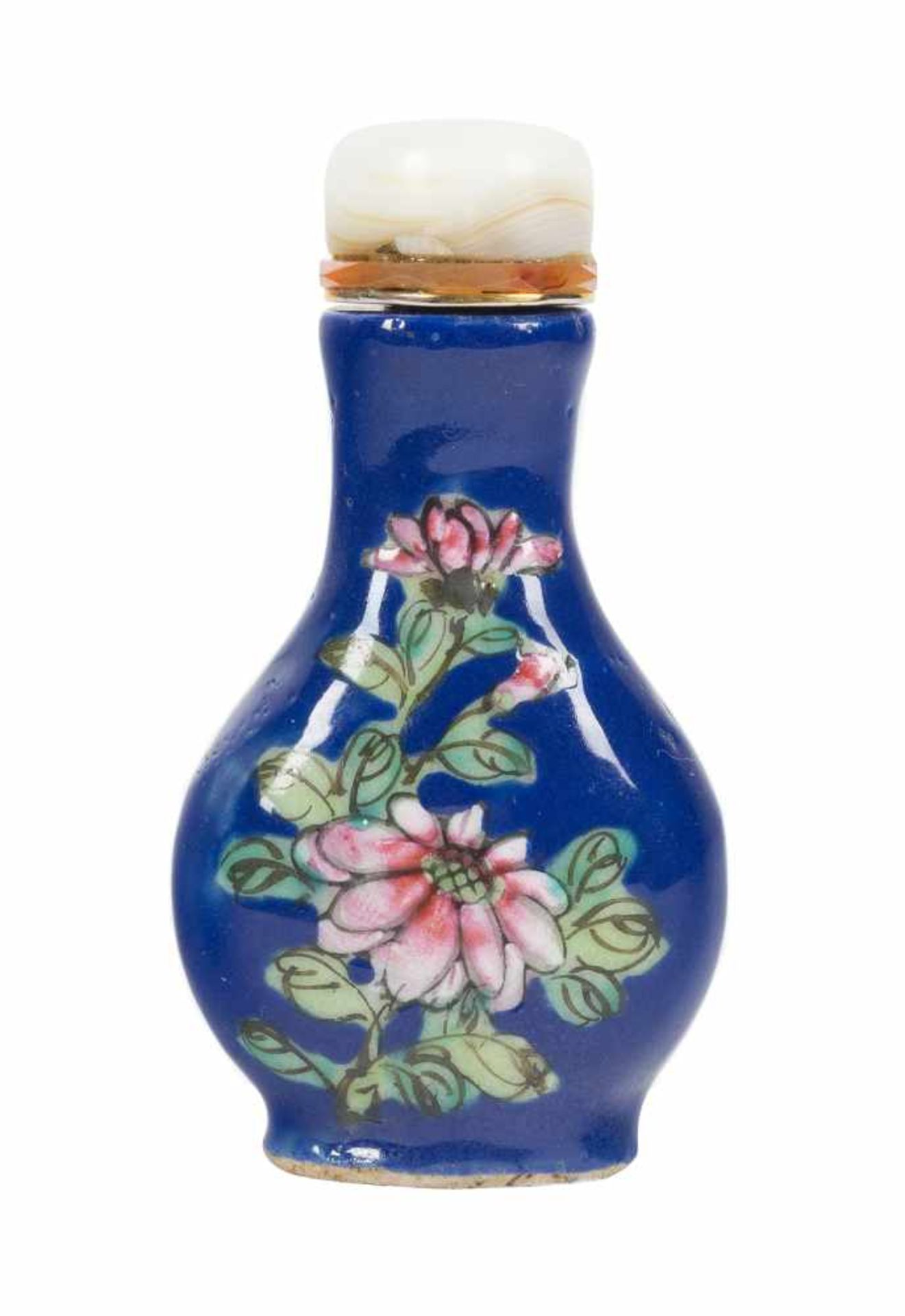 Los 24 - A famille-rose and blue enamel on glass 'flowering branches' snuff bottle. China. Qing dynasty. 19th