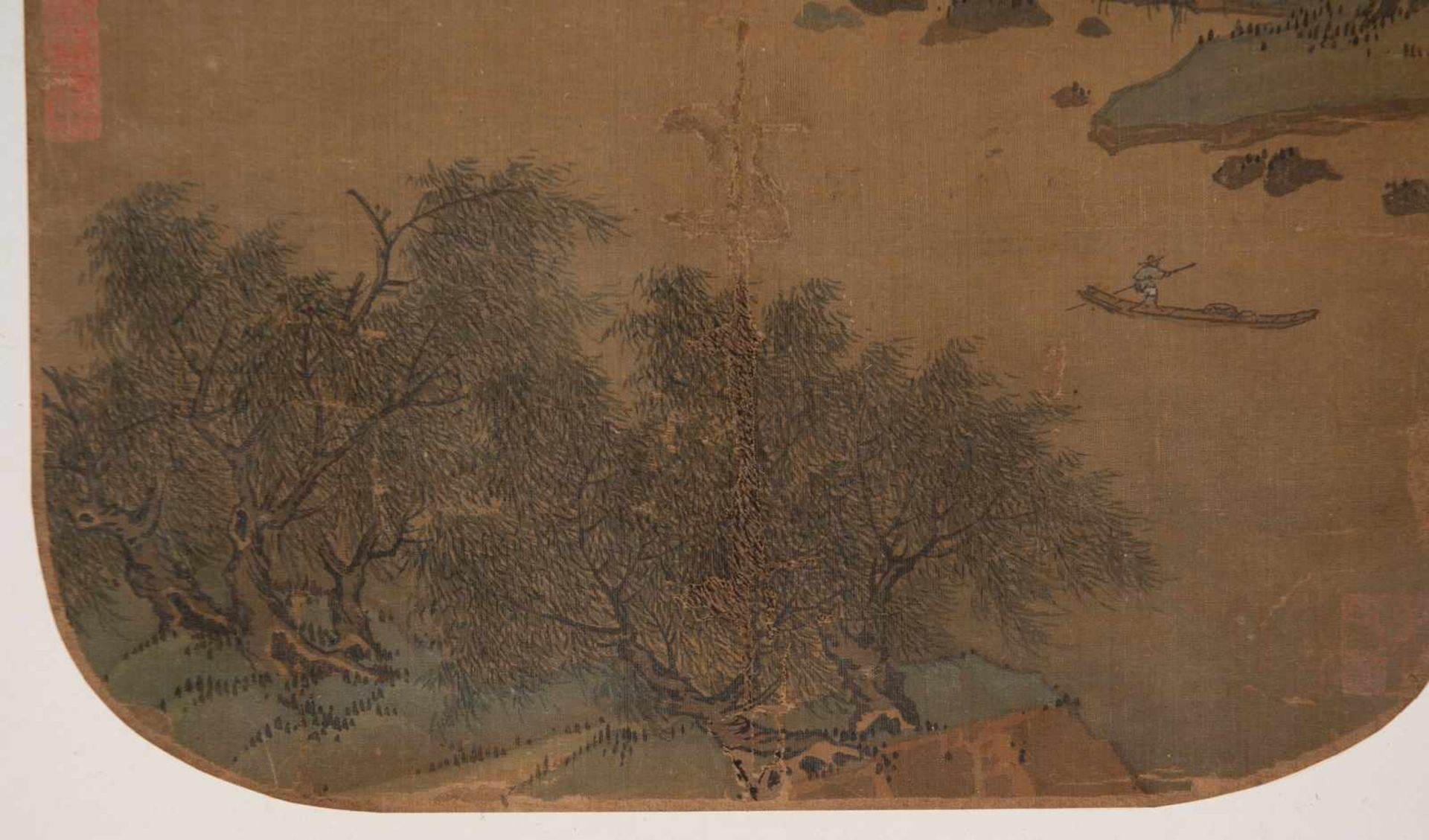 "Los 48 - Slight colours and ink on silk. Possibly Ming Period (1368-1644)""Fishing on the river with moun"