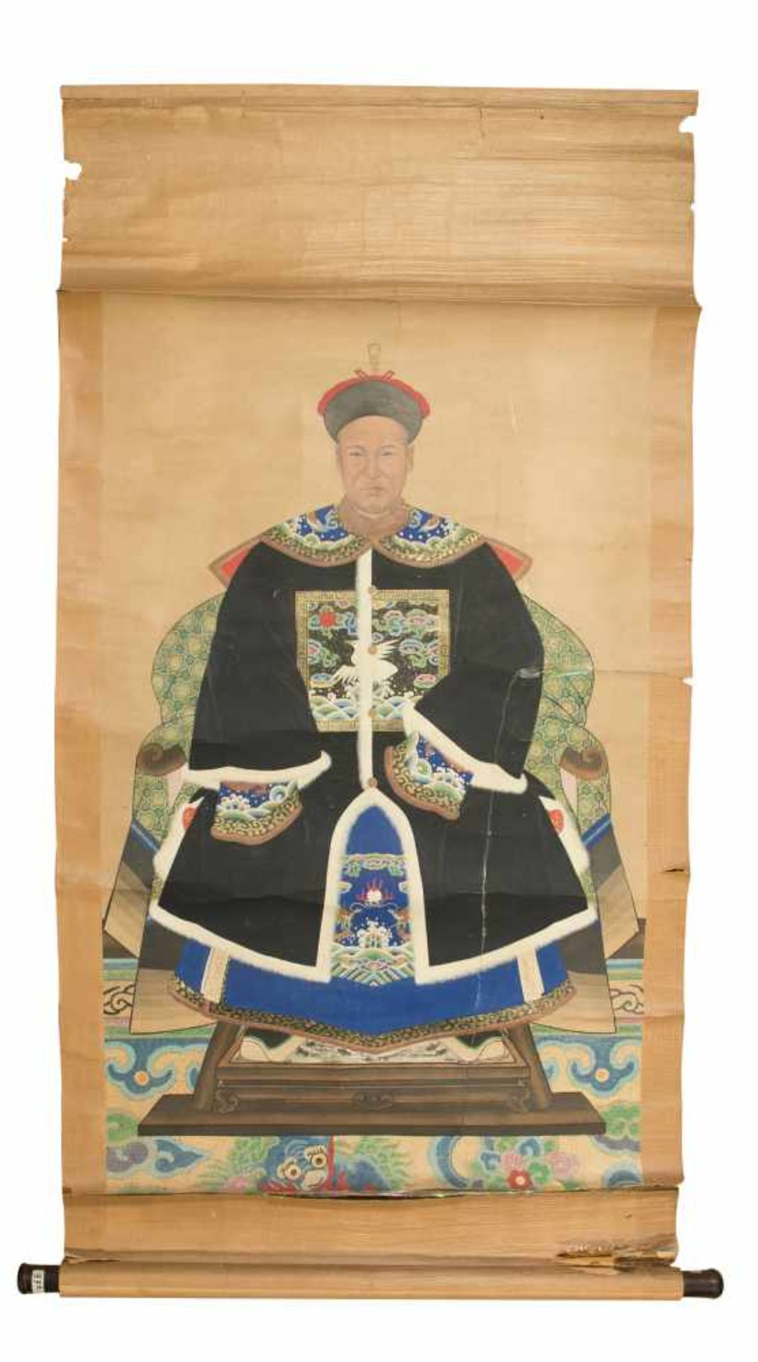"Los 18 - Anonymous, Qing dynasty (1644-1912). ""Portrait of a civil official""Hanging scroll. Ink and"