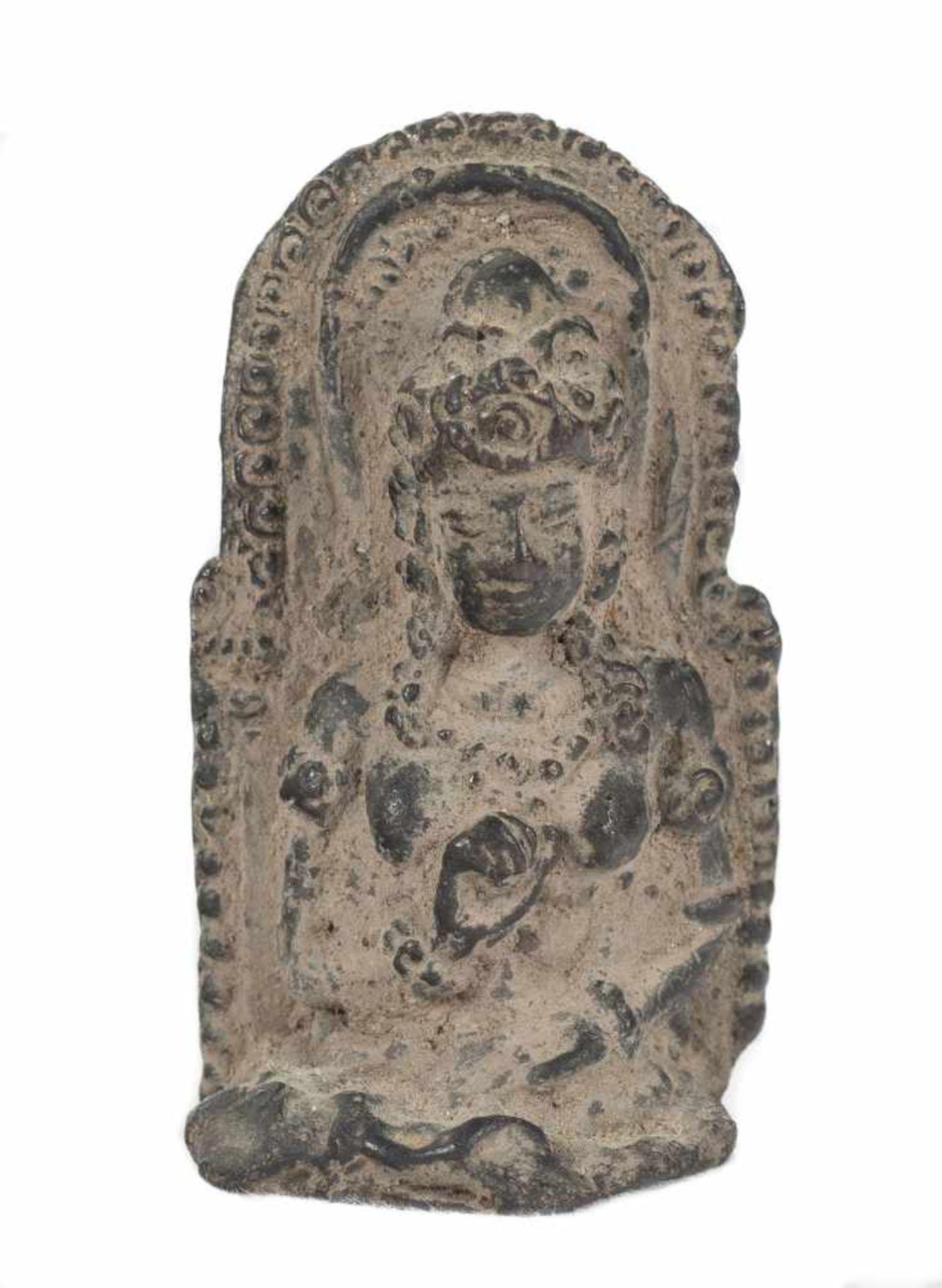 A Singhasari style bronze figure of seated Prajñāpāramitā Buddha, Java. 15th century.6,5 x 3,5