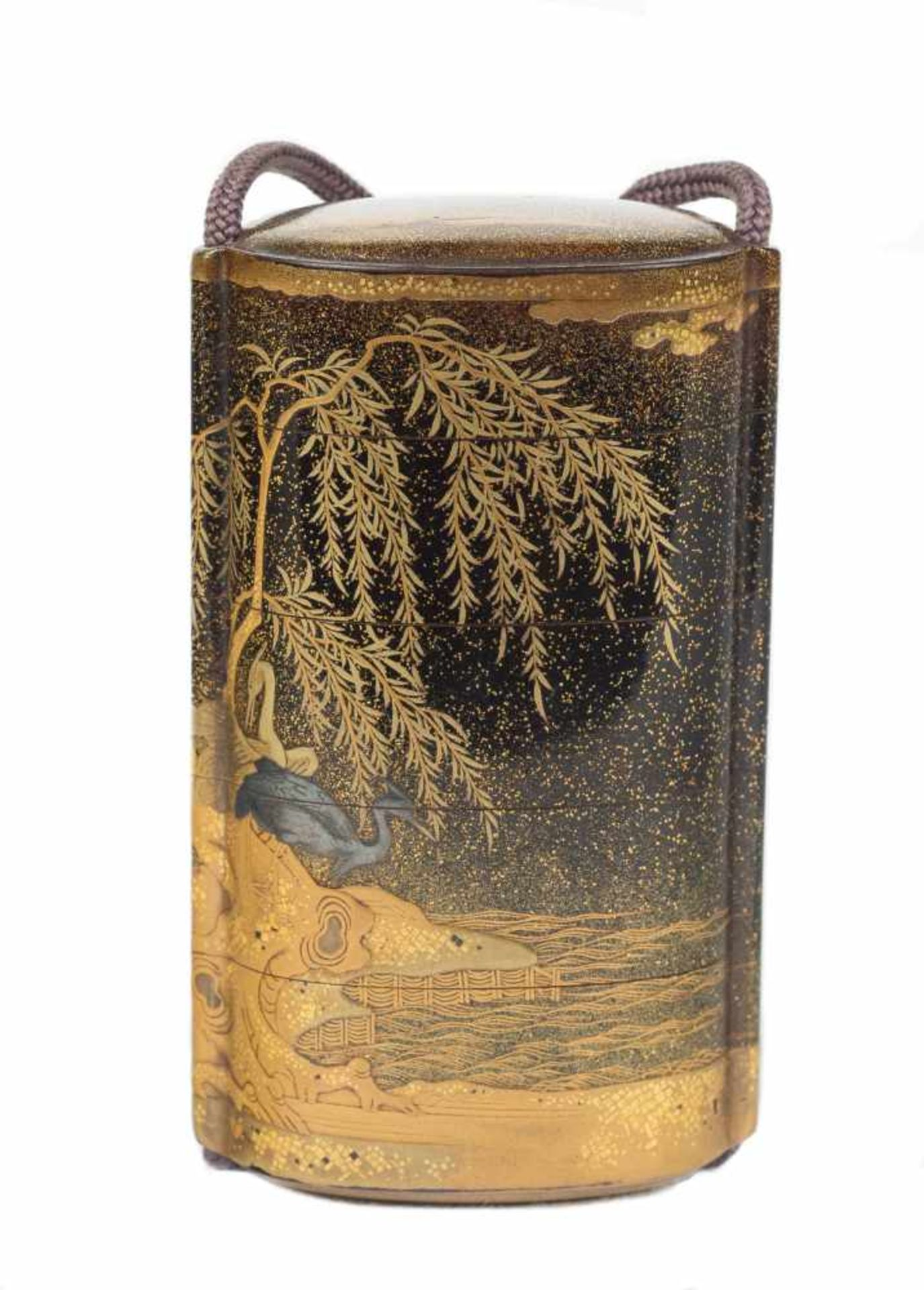 Los 30 - A large gold and black lacquer and metal-inlaid five-case inro. Japan. Probably by Jitokusai