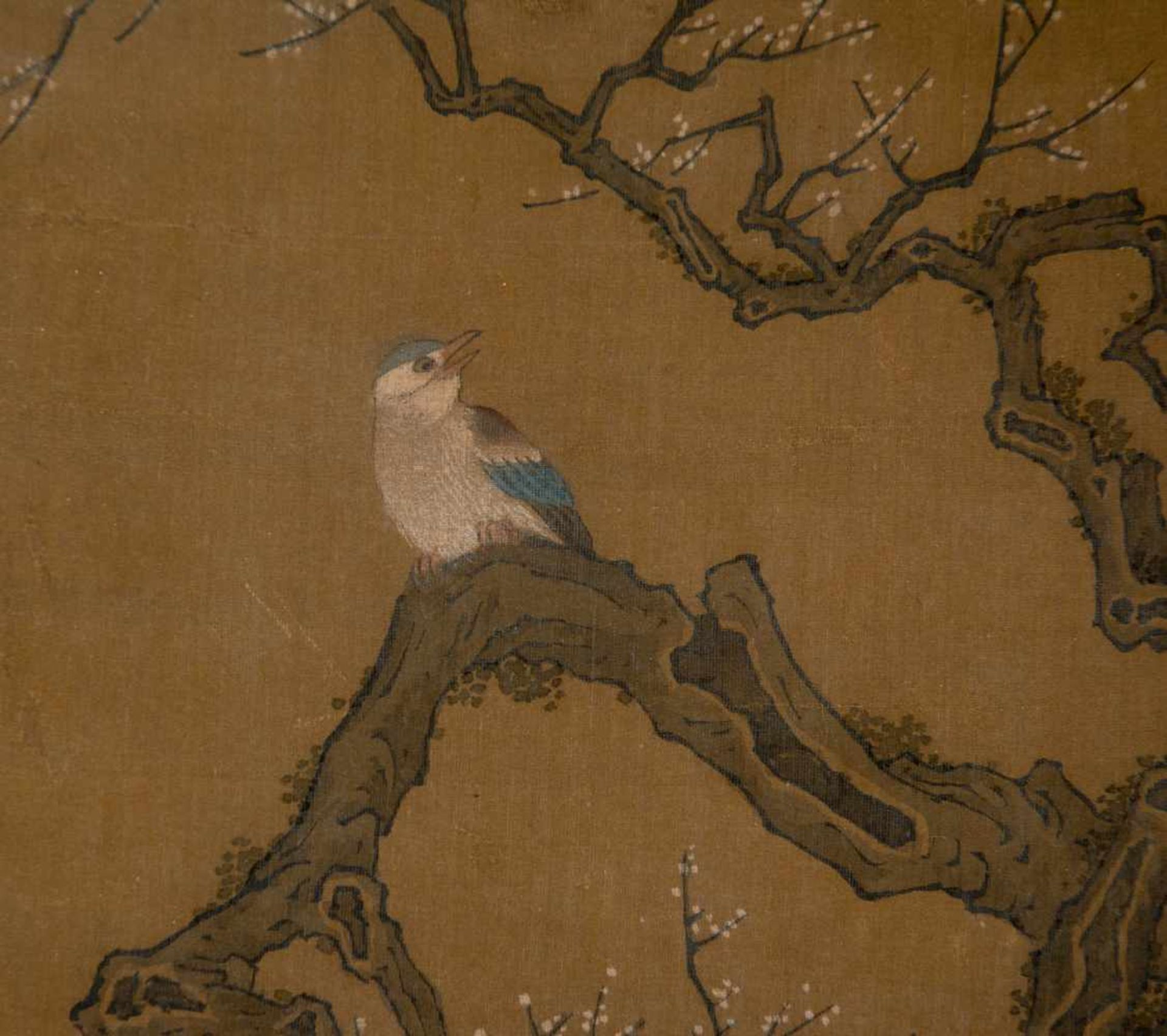 """Los 47 - Colours and Ink on silk. Japan. Possibly Ming Period (1368-1644)""""Bird on blossoming plum tree""""."""