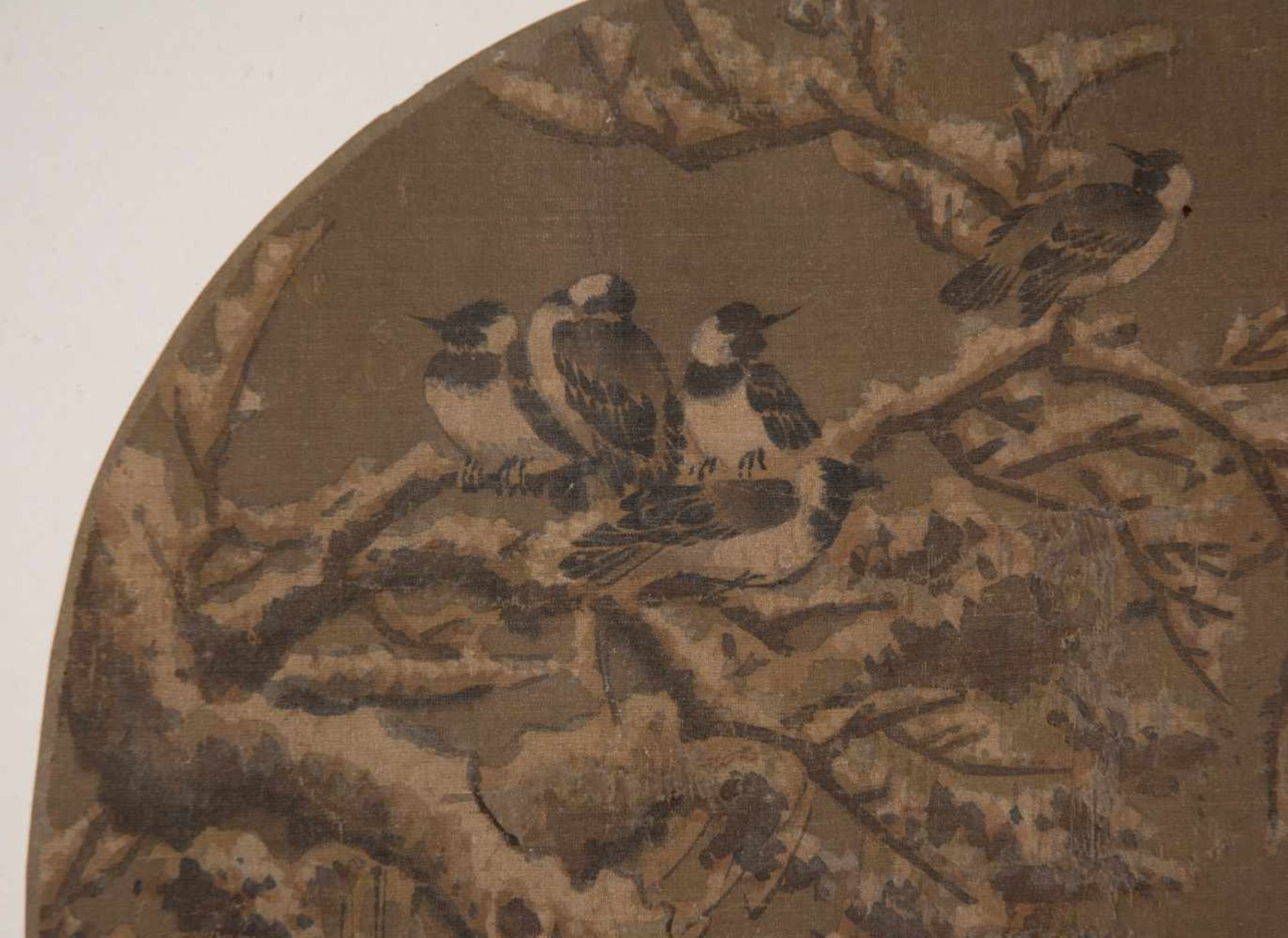 """Los 49 - Ink on silk. Japan. Possibly Ming Period (1368-1644)""""Birds on snowy tree branches"""" Followin"""