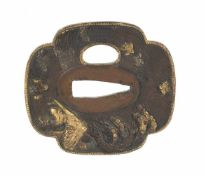 A shibuichi shakudo mokko tsuba (sword guard). Japan. Edo period. 18th-19th Centuries. 6,5 x 6