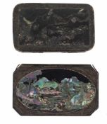 A pair of Japanese tobacco boxes, Black lacquer over copper, inlaid with mother-of-pearlEdo per