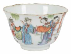 Porcelain bowl. Rosa family. China. Qing dynasty. Xianfeng (1851-61).Seal at the base.Diameter: