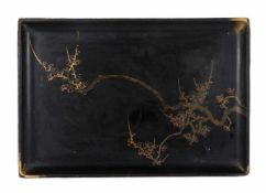 A Japanese gilt and black lacquer rectangular tray, depicting blossoming cherry tree branches. Meiji