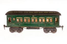 Märklin Personenwagen 1894, S 1, HL, mit Inneneinrichtung und 4 AT, LS und gealterter Lack, L 33,