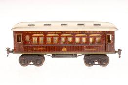 Märklin int. Schlafwagen 1894, S 1, HL, mit 4 AT, 2 Türgriffe fehlen, LS und gealterter Lack, L 32,