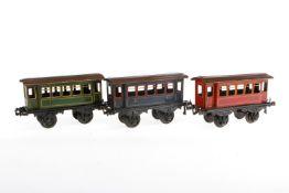 3 Bing Personenwagen, S 1, CL, LS, L 19,5, bespielt