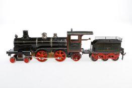 Märklin 2-B-1 Dampflok CE 1021, S 1, uralt, Uhrwerk intakt, schwarz, mit Tender, Schlüssel und 3