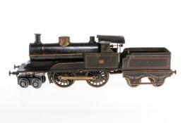 Märklin 2-B Dampflok 326, S 1, Uhrwerk intakt, schwarz, mit Tender, Z 4