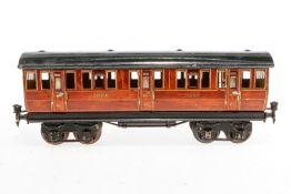Märklin engl. Abteilwagen 2873 LNER, S 1, Chromlithographie, mit 6 AT, 1 Türgriff fehlt, Lackschäden