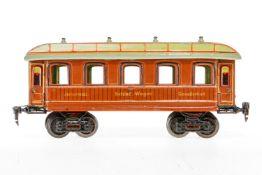 Märklin int. Schlafwagen 1843, S 1, uralt, handlackiert, mit 4 AT, ohne Inneneinrichtung und