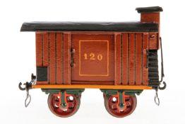 Märklin gedeckter Güterwagen, S 2, uralt, mit BRHh und 2 ST, farbl. rest. und ergänzt, L 16