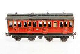 Carette Abteilwagen, S 1, rot CL, mit Inneneinrichtung und 8 AT, Lackschäden, verbogen, L 31,5, Z 3