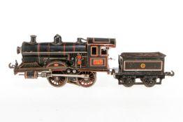 Carette B-Dampflok 1132, S 1, elektr., schwarz, mit Tender und 1 el. bel. Stirnlampe, Z 4